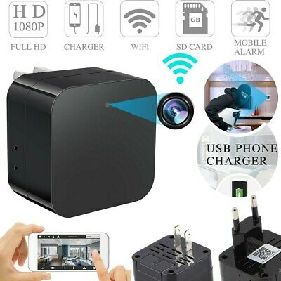 HD 1080P Hidden SPY Camera WiFi Wall Charger Remote View Recorder Motion Cam D
