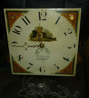 Antique 30hr Longcase Grandfather Clock Movement And Dial 12ins Square