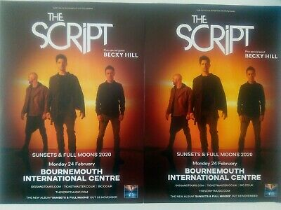 Two Flyers - The Script Sunsets and Full Moons 2020 Tour Flyer X 2 Free Postage