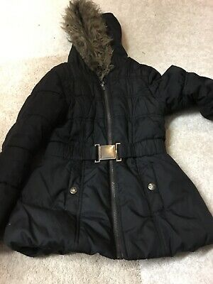 Girls winter black coat, fur hood age 7-8 years Tammy Girl good condition
