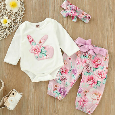 3pcs Newborn Baby Girl Infant Bunny Clothes Romper Tops Floral Pants Outfits Set
