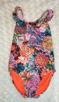 NEXT Girls Age 10 Tropical pineapple Print Frill Swimming Costume