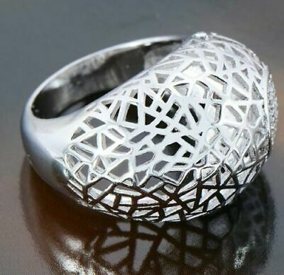 Big Womens Mens Filigree Ring Fashion Ring Silver White Gold Plated Size 9