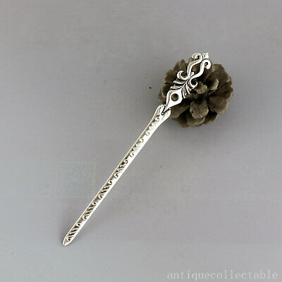 Collectable China Old Tibet Silver Hand Carve Girl Delicate Noble Decor Hairpin