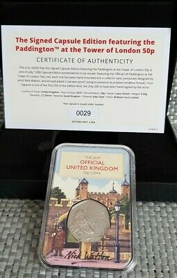 2019 Paddington Bear at the Tower 50p The Signed Capsule Edition LOW 0029 COA