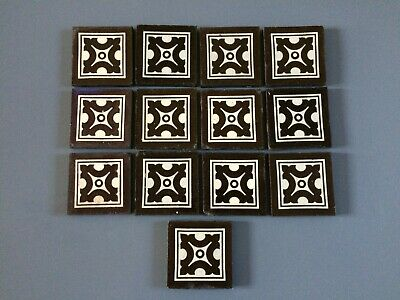 Collection Of 14 Beautiful Antique Victorian Surround Tiles Geometric Design