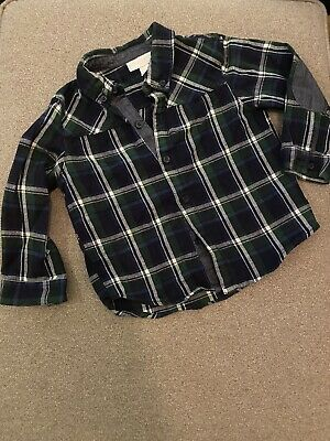 The Little White Company Boys Green checked shirt - 2-3 Years