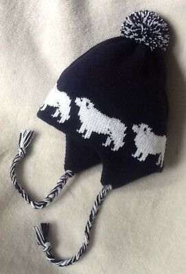 PYRENEAN  MOUNTAIN dog knitted lined NAVY BLUE  ADULT TRAPPER EAR FLAP HAT