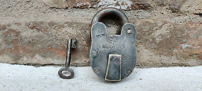 Vintage Old Lock Antique Iron Padlock 8 Levers Milatry Brass Tag Original Key