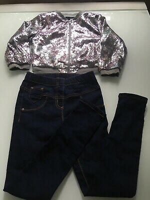 Next/H&M Sparkly Jumper And Jeans Age 9