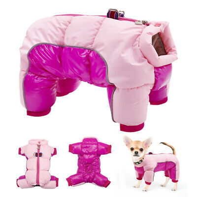 Dog Jumpsuit for Winter Coat Waterproof Clothes Small Medium Reflective Snowsuit