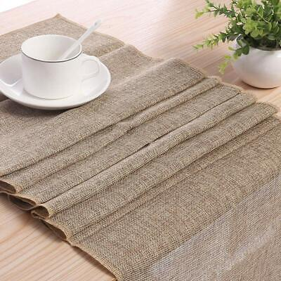 Retro Style Gray Linen Burlap Natural Table Runner for Wedding Event Table Decor