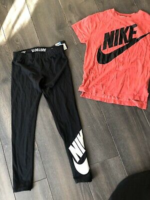 Girls Nike Outfit BNWT Leggings & Good Condition T-Shirt Age 10/12 Casual/ Dance