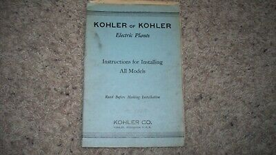 vintage KOHLER of KOHLER  Electric Plants Instructions for Installing All Models