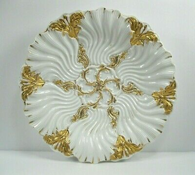 Meissen Raised Relief Gold & White Plate Crossed Swords
