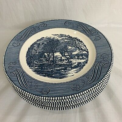 Set of 6 Vintage Currier & Ives Blue Royal China Old Grist Mill Dinner Plates