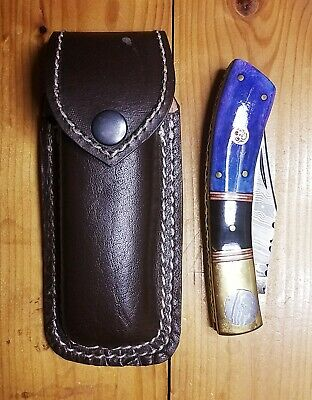 Unbranded custom Damascus steel single blade folding pocket knife with case