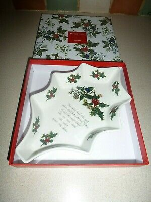 Boxed New Portmeirion Christmas The Holly And The Ivy Holly Shaped Dish