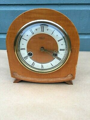 Smiths Enfield Antique Art Deco  Walnut Striking Mantel Clock