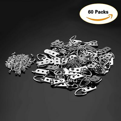 "60Pcs 2.1""×0.9"" D-Ring Painting Picture Hangers Frame Hanging 2 Hole+120 Screw"