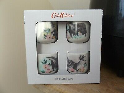 Boxed New Cath Kidston Badger & Friends Set Of 4 Egg Cups...next Day Postage
