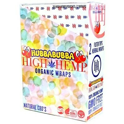 High Hemp Organic Wrap, Full Box 25 Pouches (50 Wraps), NEW FLAVOR Hubba Bubba