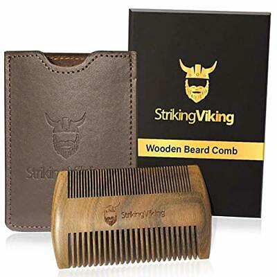 Striking Viking Wooden Wood Men Beard Comb Heavy Duty Pocket Sized w Carry Case