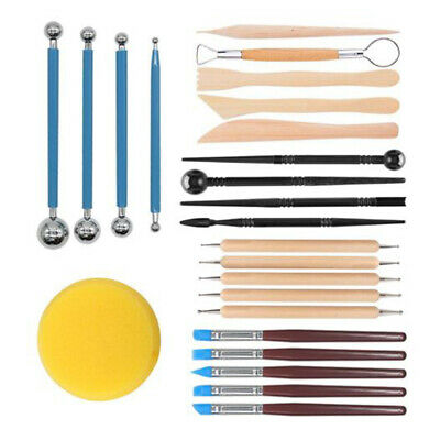 24PCS Pottery Dotting Tools Kit Rock Clay Sculpting Painting Ceramic Stencil DIY