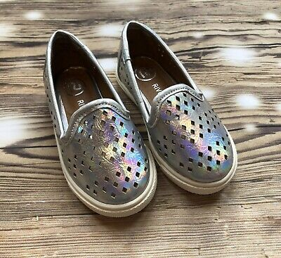 baby girls river island shoes size 3 Silver Iridescent Slip On Pumps Bnwot