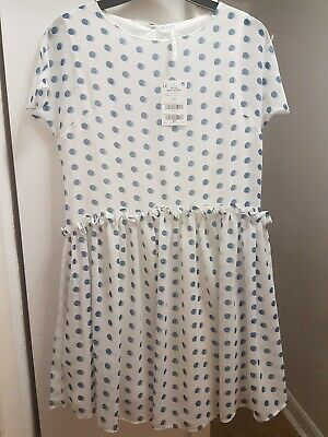Next girls Dress 10 years white with blue polka dots NEW