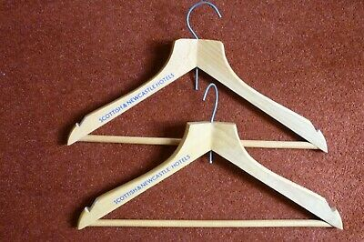2 no VINTAGE SCOTTISH and NEWCASTLE HOTELS WOODEN COAT HANGERS