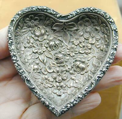 Antique Stieff Sterling Repousse Heart Dresser Tray Dish