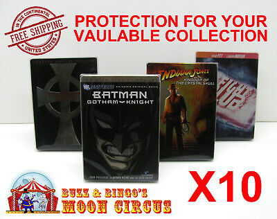 10x DVD (NOT BLU-RAY/UHD) STEELBOOK MOVIE -CLEAR PROTECTIVE BOX PROTECTOR