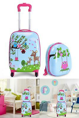 "2 pcs 12 "" 16 ""Blue ABS Kids Suitcase Backpack Luggage Set"