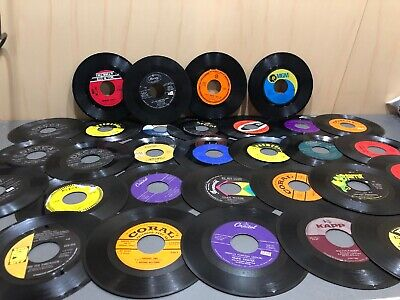 "Lot 31 Vintage 7"" Vinyl Records 45 RPM Jukebox Rock Pop Country W. Disk Go Case"