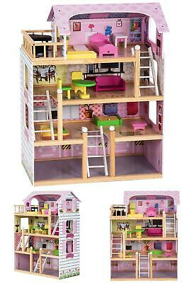 Kids Wood Dollhouse Cottage Playset with Furniture
