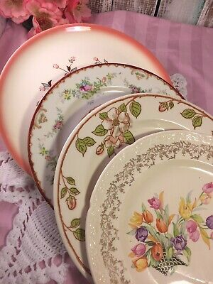 4 Vintage Mismatched China Dinner Plates Peachy Pinks Wedding Shower Shabby #214