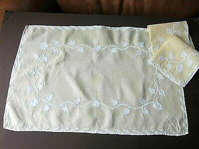 Vintage French Yellow Linen Applique Tray Cloth Topper & Napkin Breakfast Set