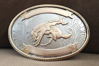 VTG Western BUCKING BRONCO BUSTER German Silver 🤠 COWBOY 🤠 TROPHY BELT BUCKLE