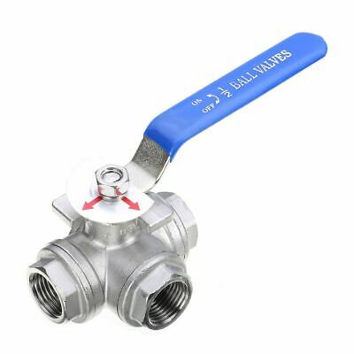 DN15 G1/2'' 304 Stainless Steel Female Lever Handle 3 Ways L-Port Ball Valve UK