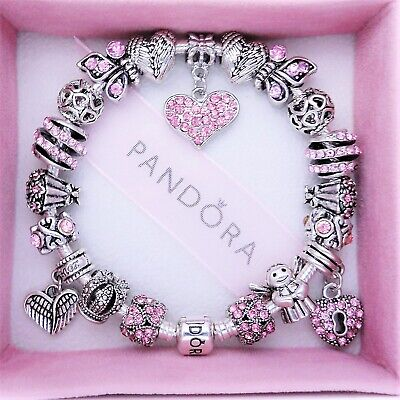 Authentic Pandora Charm Bracelet with PINK ANGEL LOVE HEART European Charms