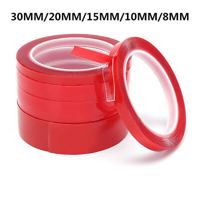 8/10/15/20/30mm*3m Craft Roll Double Sided Super Sticky Clear Tape Red Strong G