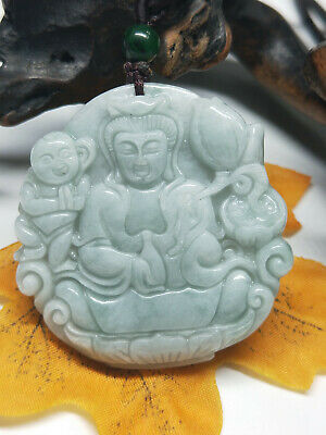 100% Chinese Hand-carved aristocratic wearing Jadeite jade pendant Boy Guanyin