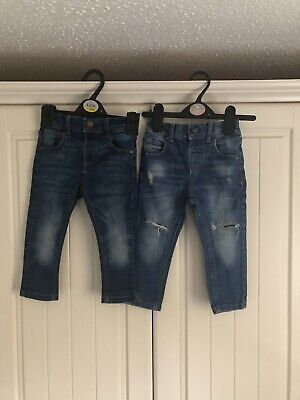 Two Pair Of Baby Boys Blue Jeans Next 12-18 Months
