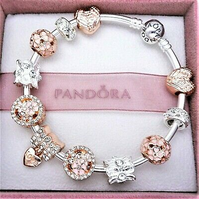 Authentic Pandora Charm Bracelet with ROSE GOLD ANGEL LOVE European Charms
