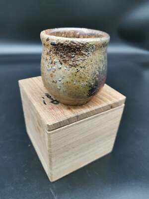 Japanese tea cup Bizen Tea/Sake cup Signed/ box wood