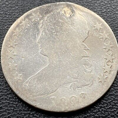 1808 Capped Bust Half Dollar 50c Circulated Plugged #22125