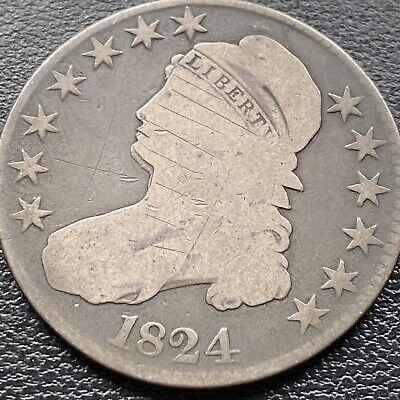 1824 Capped Bust Half Dollar  50c Circulated #22132