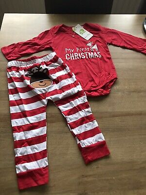Brand New BNWT Baby Girl Boy First 1st Chistmas Set Outfit Romper Leggings Top