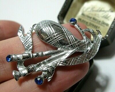 Signed Miracle Blue Crystal Scottish Bagpipe Brooch Scottish Jewellery NEW Gift